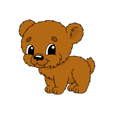 Brown bear. Cute flat vector illustration in childish cartoon style. Funny character. Isolated on white background