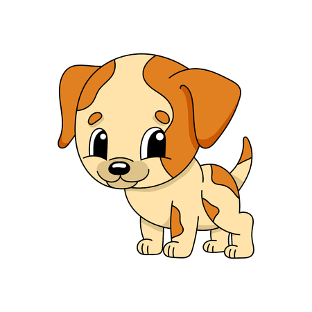 Dog. Cute flat vector illustration in childish cartoon style. Funny character. Isolated on white background 向量圖像