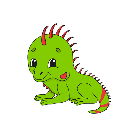 Green iguana. Cute flat vector illustration in childish cartoon style. Funny character. Isolated on white background 向量圖像