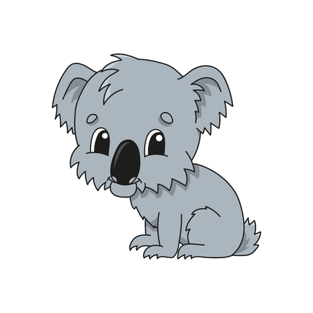 Grey koala. Cute flat vector illustration in childish cartoon style. Funny character. Isolated on white background 向量圖像