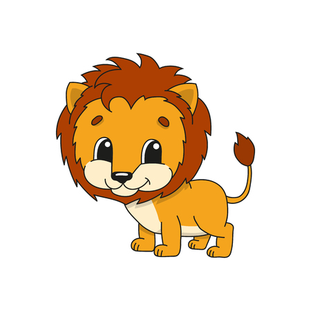 Orange lion. Cute flat vector illustration in childish cartoon style. Funny character. Isolated on white background