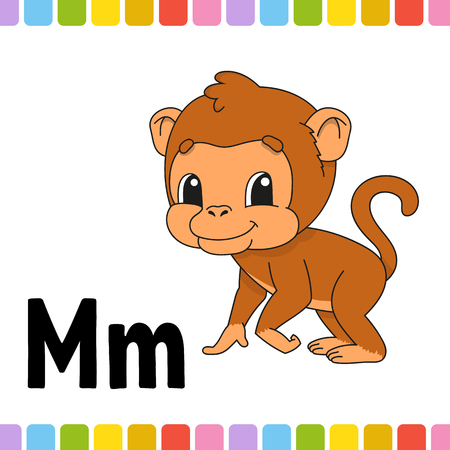 Animal alphabet. Zoo ABC. Cartoon cute animals isolated on white background. For kids education. Learning letters. Vector illustration Иллюстрация