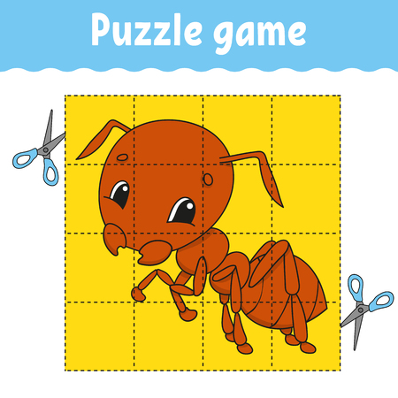 Puzzle game for kids education. Education developing worksheet. Game for kids. Activity page. Puzzle for children. Riddle for preschool. Simple flat isolated vector illustration in cute cartoon style