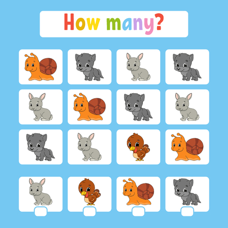 Counting game for children of preschool age. Learning mathematics. How many animals in the picture. With space for answers. Simple flat isolated vector illustration in cute cartoon style Ilustrace