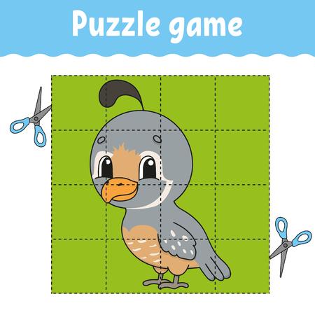 Puzzle-Spiel für Kinder. Arbeitsblatt zur Bildungsentwicklung. Lernspiel für Kinder. Aktivitätsseite. Für Kleinkind. Rätsel für die Vorschule. Einfache flache isolierte Vektorillustration im niedlichen Cartoon-Stil. Vektorgrafik