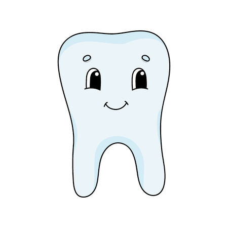 Happy tooth. Cute flat vector illustration in childish cartoon style. Funny character. Isolated on white background.