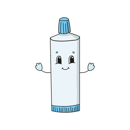 Fun Toothpaste. Cute flat vector illustration in childish cartoon style. Funny character. Isolated on white background. 向量圖像