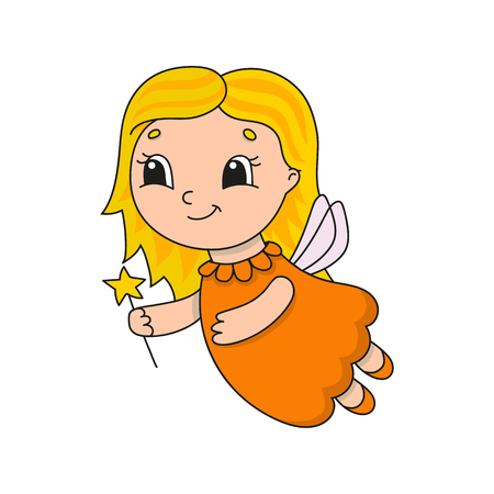 Cute fairy in an orange dress. Cute flat vector illustration in childish cartoon style. Funny character. Isolated on white background.