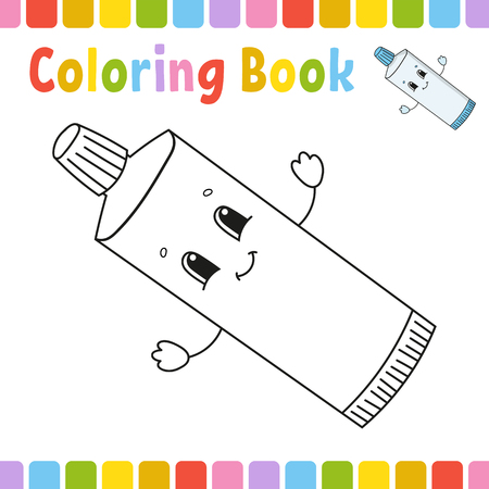Coloring book for kids. Cheerful character. Simple flat isolated vector illustration in cute cartoon style