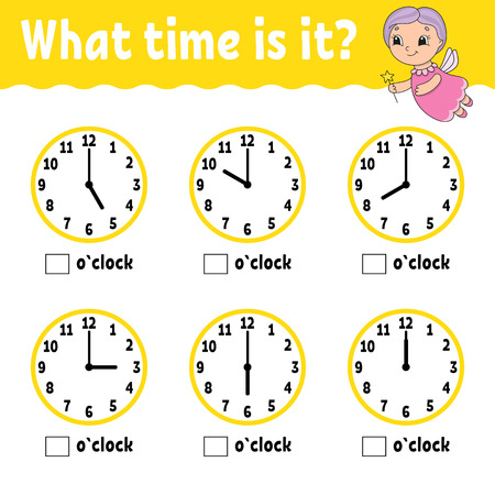 Learning time on the clock. Educational activity worksheet for kids and toddlers. Game for children. Simple flat isolated vector illustration in cute cartoon style