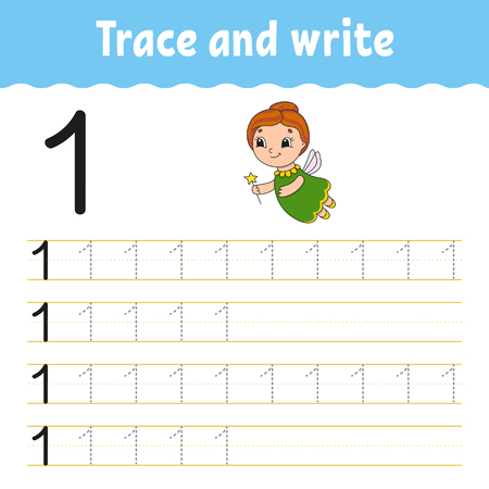 Trace and write. Handwriting practice. Learning numbers for kids. Education developing worksheet. Activity page. Game for toddlers and preschoolers. Isolated vector illustration in cute cartoon style