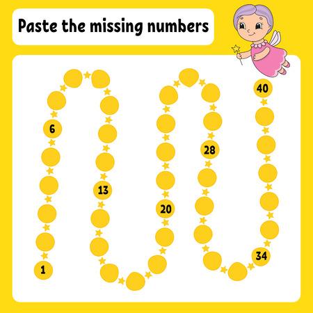 Collez les numéros manquants. Pratique de l'écriture manuscrite. Apprendre les chiffres pour les enfants. Feuille de travail de développement de l'éducation. Page d'activité. Jeu pour les enfants. Illustration vectorielle isolée dans un style dessin animé mignon.