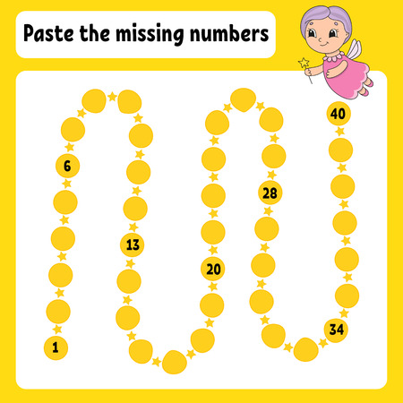 Paste the missing numbers. Handwriting practice. Learning numbers for kids. Education developing worksheet. Activity page. Game for children. Isolated vector illustration in cute cartoon style. Foto de archivo - 119921788