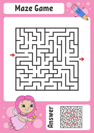 Maze. Game for kids. Funny labyrinth. Education developing worksheet. Activity page. Puzzle for children. Cute cartoon style. Riddle for preschool. Logical conundrum. Color vector illustration