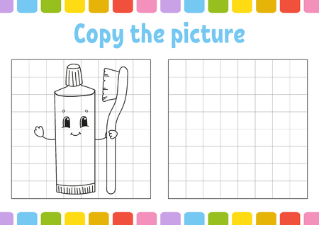 Copy the picture. Coloring book pages for kids. Education developing worksheet. Game for children. Handwriting practice. Cute cartoon vector illustration