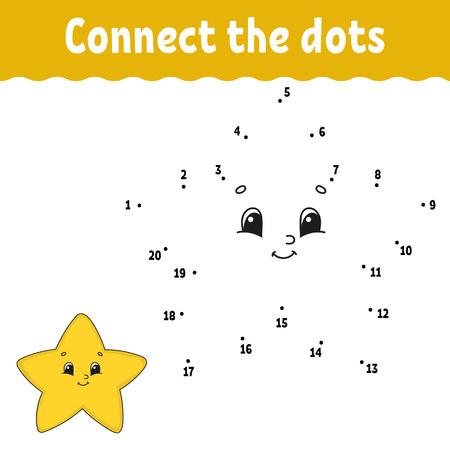 Punto por punto. Dibuja una línea. Práctica de escritura a mano. Aprendizaje de números para niños. Hoja de trabajo de desarrollo de educación. Página de actividad. Juego para niños pequeños y preescolares. Ilustración de vector aislado. Estilo de dibujos animados