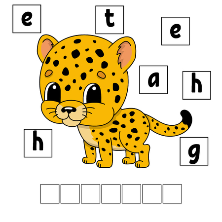 Words puzzle. Education developing worksheet. Learning game for kids. Activity page. Puzzle for children. Riddle for preschool. Simple flat isolated vector illustration in cute cartoon style Illustration