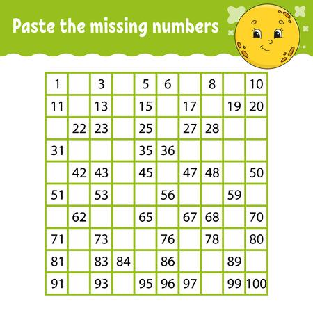 Collez les numéros manquants. Pratique de l'écriture manuscrite. Apprendre les chiffres pour les enfants. Feuille de travail de développement de l'éducation. Page d'activité. Jeu pour les enfants. Illustration vectorielle isolée dans un style de dessin animé mignon