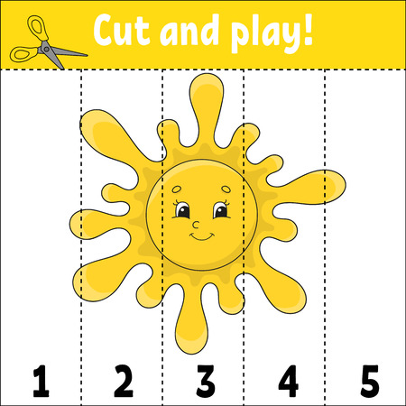 Learning numbers. Cut and play. Education developing worksheet. Game for kids. Activity page. Puzzle for children. Riddle for preschool. Flat isolated vector illustration. Cute cartoon style