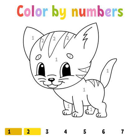 Color by numbers. Coloring book for kids. Cheerful character. Vector illustration. Cute cartoon style. Hand drawn. Fantasy page for children. Isolated on white background Иллюстрация
