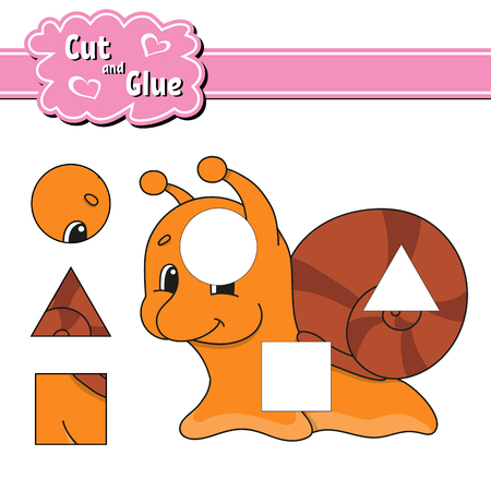 Cut and glue. Education developing worksheet. Activity page. Game for children. Isolated vector illustration in cute cartoon style Ilustração Vetorial