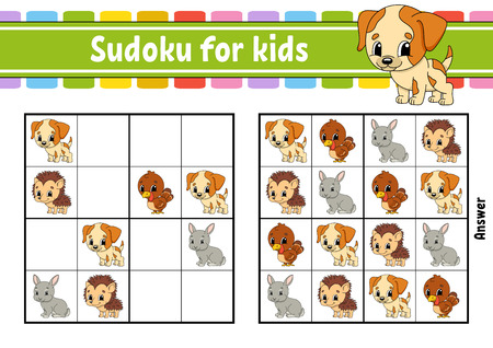Sudoku for kids. Education developing worksheet. Activity page with pictures. Puzzle game for children and toddler. Logical thinking training. Isolated vector illustration. Cartoon style Stock Vector - 124820946
