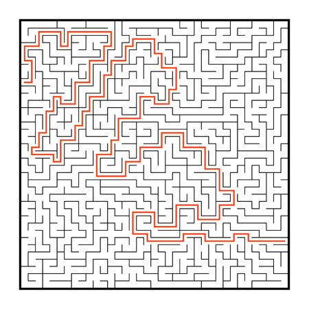 Abstract square maze. Game for kids. Puzzle for children. One entrance, one exit. Labyrinth conundrum. Flat vector illustration isolated on white background. With answer