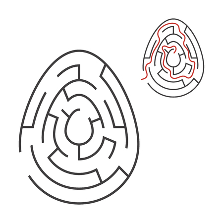 Black oval labyrinth. Game for kids. Puzzle for children. Holiday, egg, Easter. Maze conundrum. Flat vector illustration isolated on white background. With answer 向量圖像