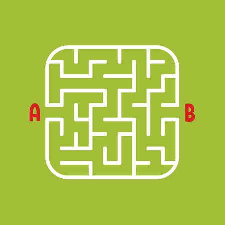 White square labyrinth. Kids worksheets. Activity page. Game puzzle for children. Find the path from a to b. Maze conundrum. Vector illustration