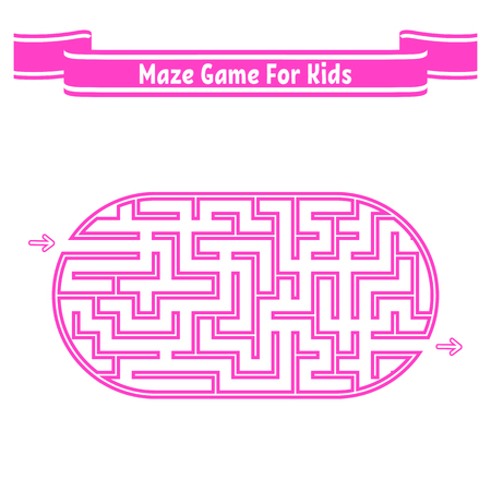 Color oval labyrinth. Game for kids. Puzzle for children. Maze conundrum. Flat vector illustration isolated on white background 向量圖像