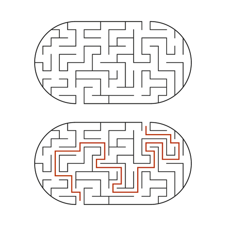 Black oval labyrinth. Game for kids. Puzzle for children. Maze conundrum. Flat vector illustration isolated on white background. With the answer