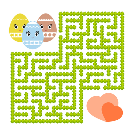 Color abstract labyrinth. Kids worksheets. Activity page. Game puzzle for children. Cute egg toon, the way to the heart, holiday, Easter, garden. Maze conundrum. Vector illustration