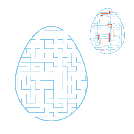 Color labyrinth egg. Kids worksheets. Activity page. Game puzzle for children. Easter holiday. Maze conundrum. Vector illustration 向量圖像