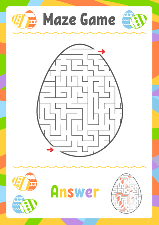 Black oval labyrinth. Kids worksheets. Activity page. Game puzzle for children. Egg, holiday, Easter. Maze conundrum. Vector illustration. With answer 向量圖像
