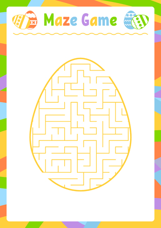 Color oval labyrinth. Kids worksheets. Activity page. Game puzzle for children. Egg, holiday, Easter. Maze conundrum. Vector illustration. With answer