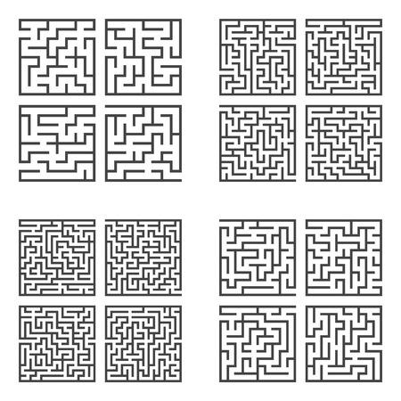 Eine Reihe von Labyrinthen. Spiel für Kinder. Rätsel für Kinder. Rätsel des Labyrinths. Flache Vektorillustration.