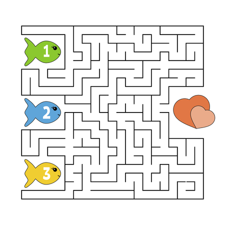 Abstract maze. Game for kids. Puzzle for children. Cartoon style. Labyrinth conundrum. Color vector illustration. The development of logical and spatial thinking