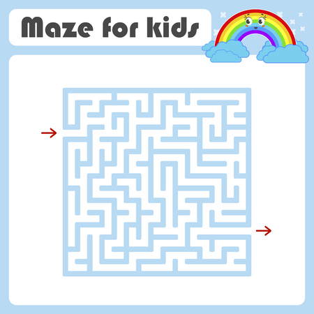 Maze. Game for kids. Funny labyrinth. Education developing worksheet. Activity page. Puzzle for children. Cute cartoon style. Riddle for preschool. Logical conundrum. Color vector illustration Stock Vector - 124821176
