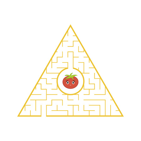 Funny maze. Game for kids. Puzzle for children. Cartoon style. Labyrinth conundrum. Color vector illustration. The development of logical and spatial thinking Stock Vector - 124821189