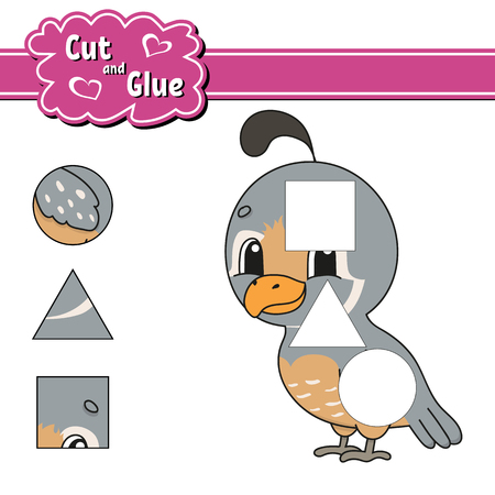 Cut and glue. Education developing worksheet. Activity page. Game for children. Isolated vector illustration in cute cartoon style Illustration