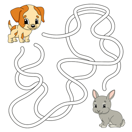 Funny maze. Game for kids. Puzzle for children. Cartoon style. Labyrinth conundrum. Color vector illustration. Find the right path. The development of logical and spatial thinking