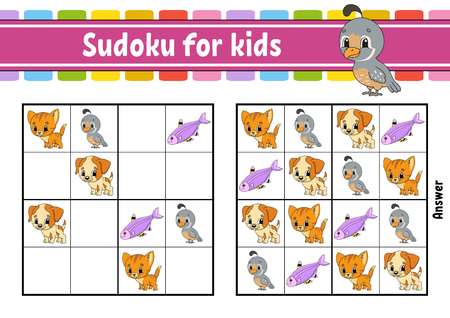 Sudoku for kids. Education developing worksheet. Activity page with pictures. Puzzle game for children and toddler. Logical thinking training. Isolated vector illustration. Cartoon style