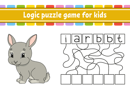 Logic puzzle game. Learning words for kids. Find the hidden name. Education developing worksheet. Activity page for study English. Game for children. Isolated vector illustration. Cartoon style