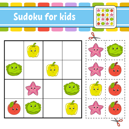 Sudoku for kids. Education developing worksheet. Activity page with pictures. Puzzle game for children. Logical thinking training. Isolated vector illustration. Funny character. Cartoon style Banque d'images - 119921951