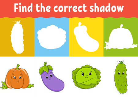 Find the correct shadow. Education developing worksheet. Matching game for kids. Activity page. Puzzle for children. Riddle for preschool. Cute character. Isolated vector illustration. Cartoon style