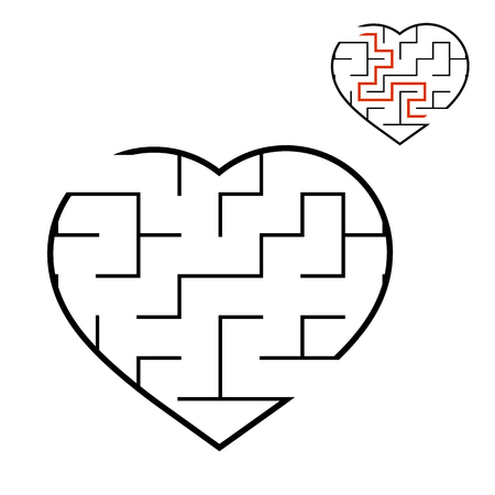 Black labyrinth heart. Game for kids. Puzzle for children. Maze conundrum. Valentines Day. Flat vector illustration isolated on white background. With answer