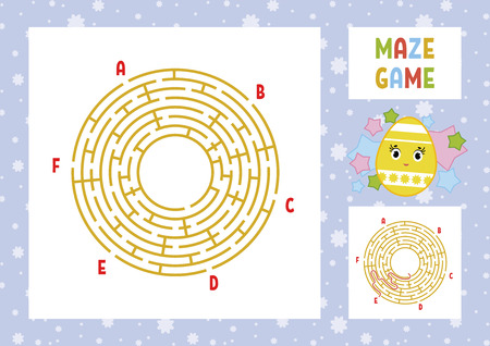 Color round labyrinth. Kids worksheets. Activity page. Game puzzle for children. Cute cartoon egg. Holiday Easter. Maze conundrum. Vector illustration. With answer. With place for your image