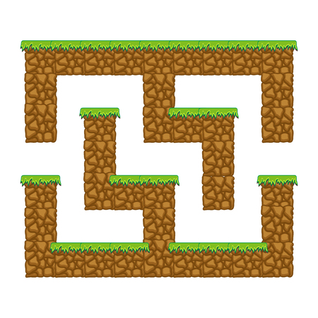 Maze cave. Game for kids. Puzzle for children. Cartoon style. Labyrinth conundrum. Color vector illustration. The development of logical and spatial thinking Stock Illustratie