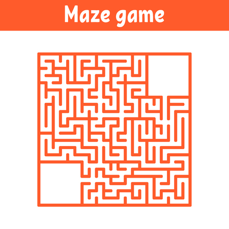 Colored square labyrinth. Game for kids. Puzzle for children. Maze conundrum. Flat vector illustration Vettoriali