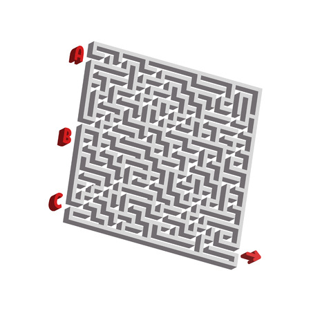 Abstact labyrinth. Game for kids. Puzzle for children. Maze conundrum. Vector illustration. Vetores